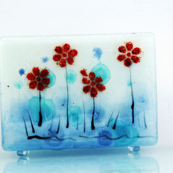 Fused Glass napkin holder , blooming landscape series