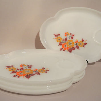 Fire King Federal Milk Glass Luncheon Snack Plate - set of 4 - Blossom Autumn Flower Pattern