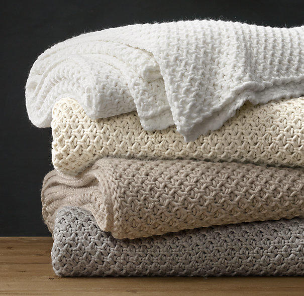 Knitting In Bed : Textural knit oversized bed throw from restoration hardware