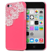 Fosmon GEM-LACE Series 3D Bling Lace Design Case for Apple iPhone 5C (Hot Pink)