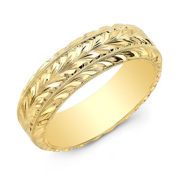 14k yellow gold hand engraved wedding band with bevel edge 6mm width