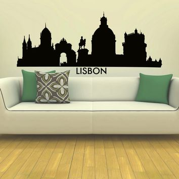 Wall Decal Vinyl Sticker Lisbon Skyline City Scape Silhouette Decor Sb140