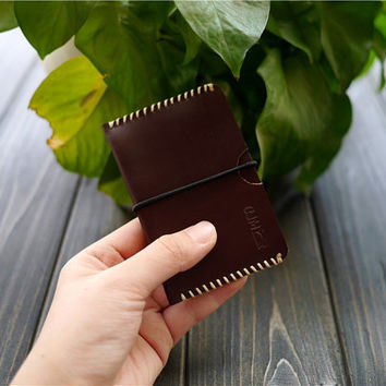 Free Engraving , Men's Leather Card Case , Handmade Leather Card Case , Custom Leather Card Case , Personalized Card Holder