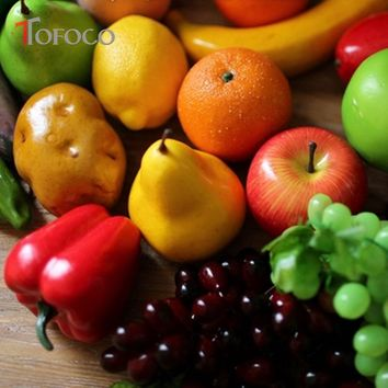 TOFOCO 23 Styles Artificial Simulation Fake Fruits Vegetables Kitchen Toys Children Pretend Play Early Education Decoration Toy