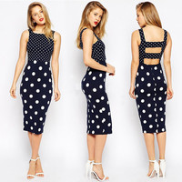 Women's Fashion Patchwork Sleeveless Bandages Sexy One Piece Dress [8096510407]