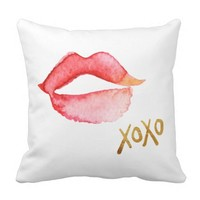 Watercolor Lips & Gold Foil XOXO Throw Pillow