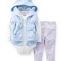 Carter's Newborn-24 Months Hooded Vest, Bodysuit & Pant Set - Light Bl