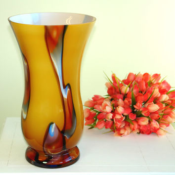 glass vase Valentine's Day gifts hand blow glass vases made in Poland Makora red multicolor weddings handmade glass vases