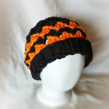 Men's chunky hat Crochet chevron stripes slouchy beanie Ribbed brim  fall cap Orange black wool soy silk blend