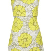 Floral Print Bardot Dress - Yellow