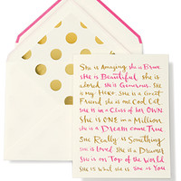 kate spade new york greeting card she is amazing