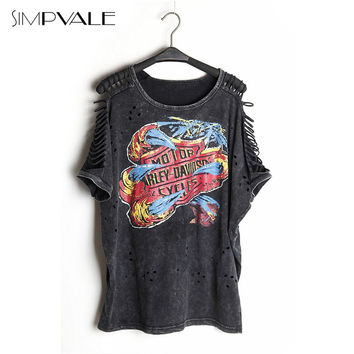 Women Sexy T Shirts Punk Rock Design Fashion Print Off Shoulder Tops Femininas Camisas Vintage Hollow Out Clothing