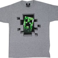 Minecraft Creeper Inside Youth T-shirt, Oxford Grey, X-Large