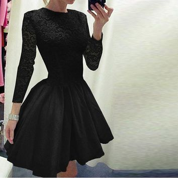 Black Lace Crew Neck Pleated  Long-Sleeved Dress