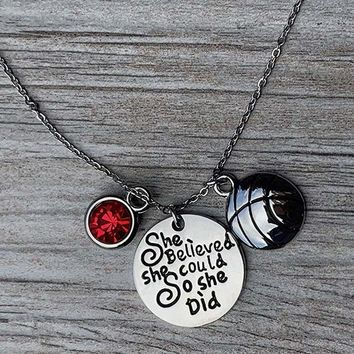 Basketball She Believed She Could So She Did Necklace with Birthstone