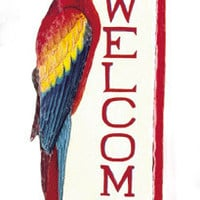 Parrot Metal Art - Painted Metal Scarlet Macaw Parrot Welcome Sign  - Bird Metal Wall Art, Recycled Haitian Steel Drum Metal Art - D-366-WP
