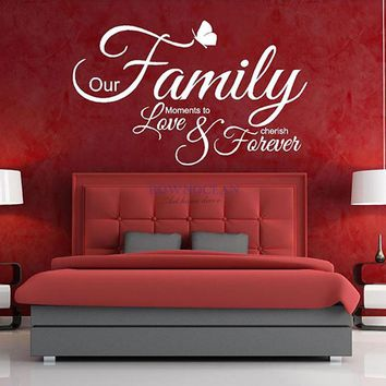 ROWNOCEAN Wall Sticker Family Love Forever DIY Removable Vinyl Wall Decal Home Decor Mural Customized Name Wall Art  W702