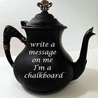 Chalk Board Tea pot with Gold accents