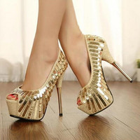 2016 new fashion fish head high with golden sequins sexy high heel shoes Women wedding shoes Women pumps large size 40