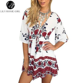 LMFIJ6 Boho Red Floral Print Women Jumpsuit Romper Summer Style Lace Up V Neck Sexy Party Playsuit 2016 Beach Elegant Short Overalls