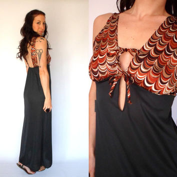 70's Low Cut Deep V Neck Open Back Maxi Dress Semi Sheer Tie Front Lingerie