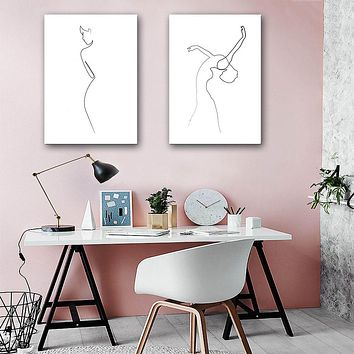 NICOLESHENTING Dance Girl Abstract Poster Simple Linear Art Minimalist Canvas Painting Wall Picture Print Modern Home Decoration