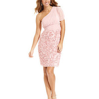 JS Collections Dress, Short-Sleeve One-Shoulder Ruched - Dresses - Women - Macy's
