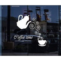 Window Vinyl Wall Decal Coffee Time Logo Kettle Cup Hot Drink Stickers Unique Gift (2012igw)