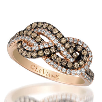 Le Vian® Chocolate and Vanilla Diamond® Infinity Ring in 14K Strawberry Gold®