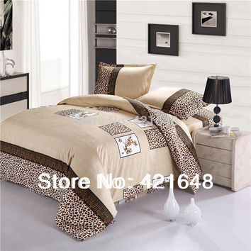 Free Shipping Cotton Luxury leopard 3/4pcs bedding set twin/full/queen size bedclothes bed linen duvet cover