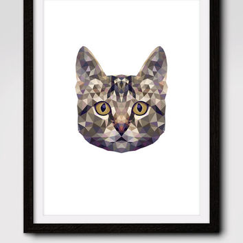 60% OFF SALE Geometric Cat Print, Cat Silhouette, Geometric Cat Art, Cat Print, Nursery Wall Print Cat, Cat Face, Wall Print