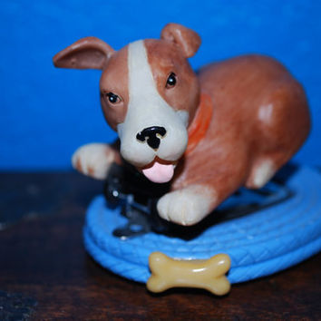 Vintage, Dog and bone, mini stapler, blue