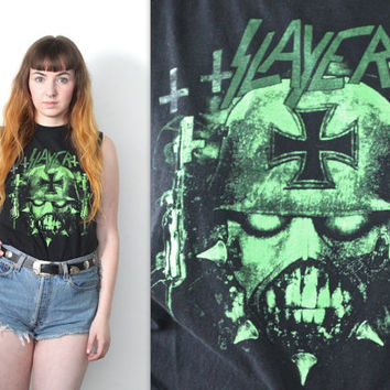 Vintage 90s Slayer Band // Muscle Tee Shirt // Black Green Skull Graphic // Size Extra Small XS / Small