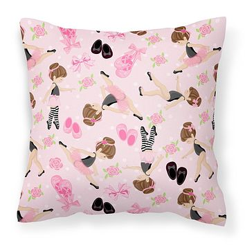 Ballerinas and Roses Fabric Decorative Pillow BB5172PW1414