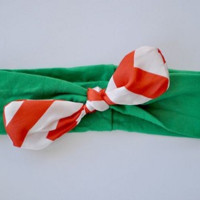 Knotted Satin Bow Headband Green Candy Stripe