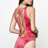 Honey Punch Faux Suede Tie-Dye Bodysuit at PacSun.com