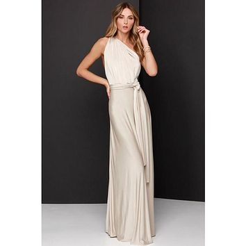 Beige Bandage Long Sexy Multi-way Convertible Maxi Dress