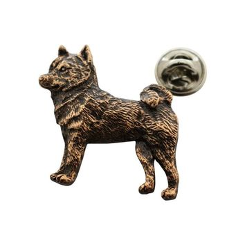 Shiba Inu Pin ~ Antiqued Copper ~ Lapel Pin