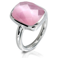 Stainless Steel Faceted Pink Resin Stone Ring | Overstock.com