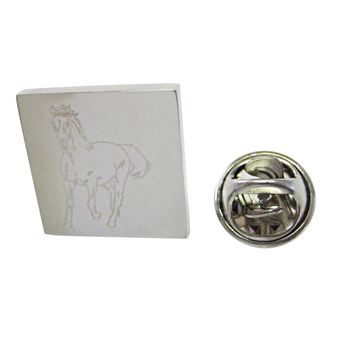 Silver Toned Etched Galloping Horse Lapel Pin