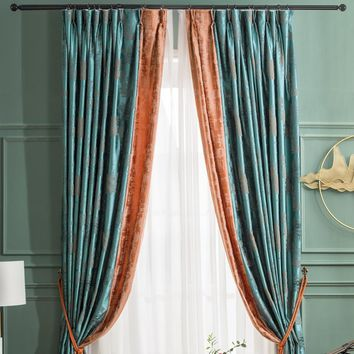 A810 Turquoise Blue/Bright Orange 2 in 1 Window Curtain Panel