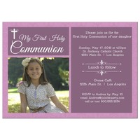 Modern Pink Damask Photo First Communion Invitation