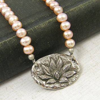 Lotus Blossom Necklace, Pink and Silver Necklace, Pink Pearl Necklace, Flower Pendant Necklace