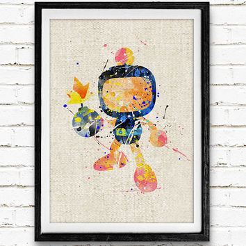 Black Bomberman Watercolor Print, Video Games Baby Boy Nursery Decor, Wall Art, Home Decor, Gift Idea, Not Framed, Buy 2 Get 1 Free!
