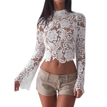 Flirty Flare Sleeve Lace Crop Top with Back Zipper