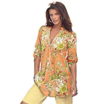 Mustard V Neck Pleat Button Front Floral Tunic Top