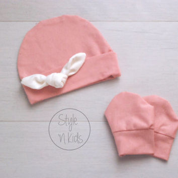 PINK Newborn outfit newborn girl baby hat with IVORY Tied KNOT baby girl hat girl baby hat newborn baby girl hospital hat baby girl hat