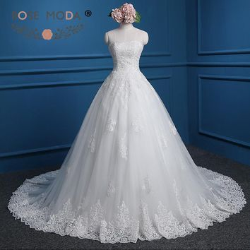 Rose Moda Strapless Lace Ball Gown Plus Size Lace Wedding Dress Lace Up Back Real Photos