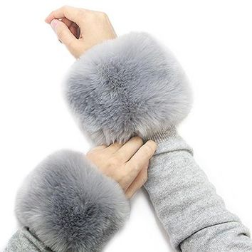 *Faux Fur Wrist Mufflers/Warmers-Grey Pair