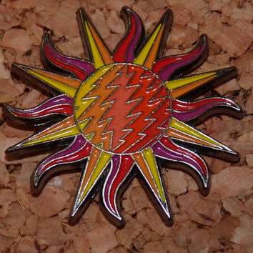 Grateful Sun - Hat Pin - Grateful Dead - Dead Bolt - Thirteen Point Bolt - Glow - Festival Pins
